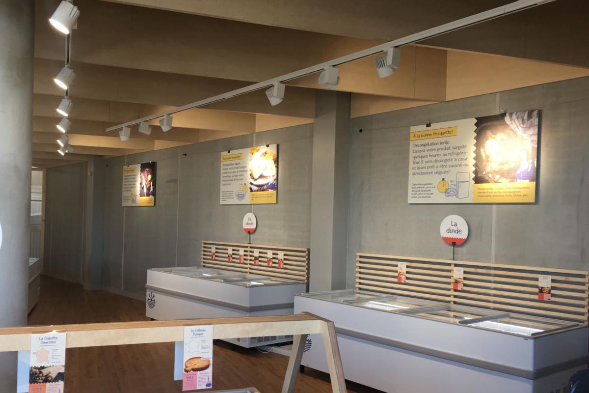 rail de spots Led installés au dessus des vitrines réfrigérées